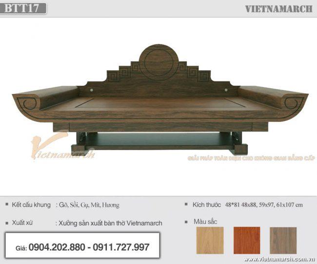 mẫu bàn thờ treo gỗ gụ 48x88cm màu óc chó nhạt