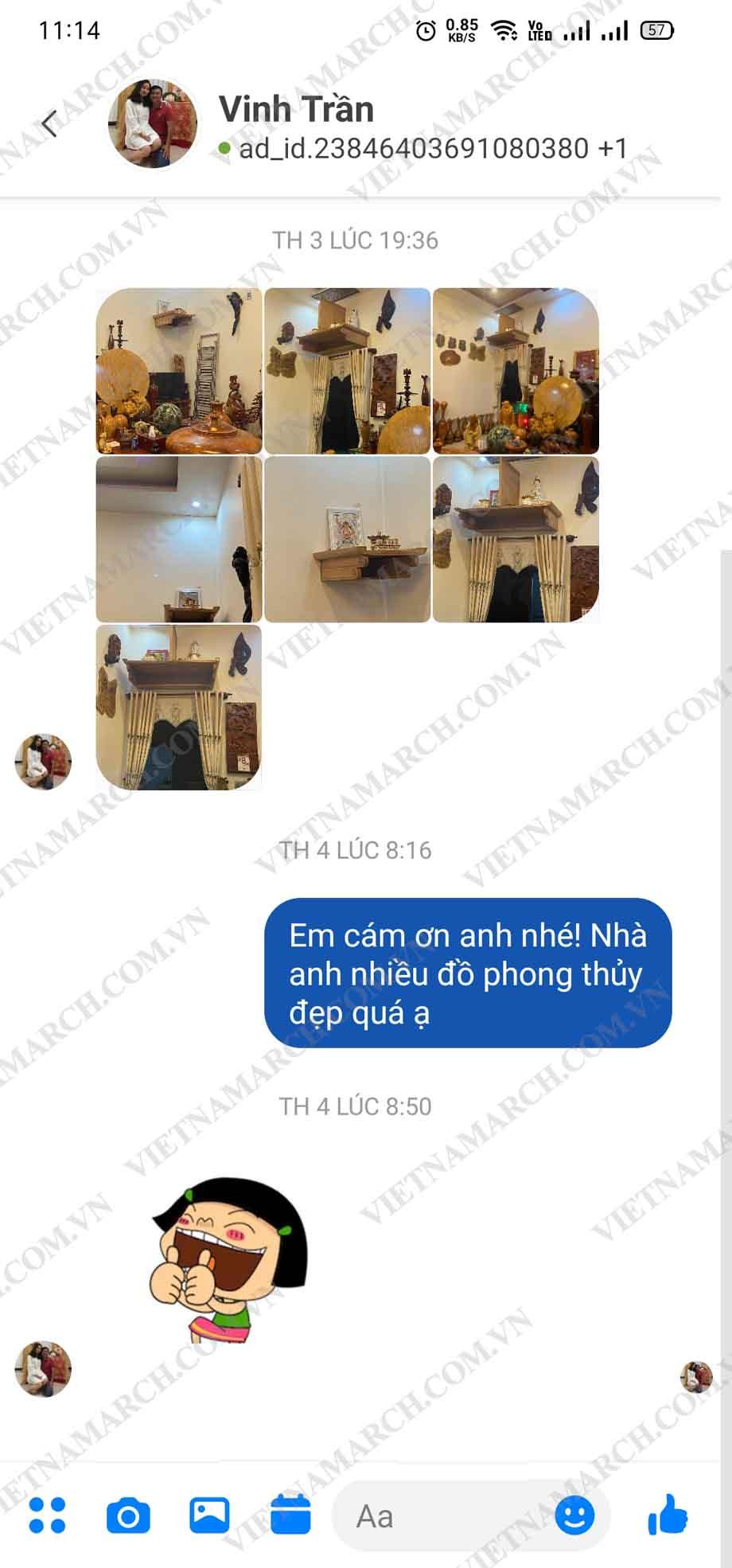 Review của anh Vinh tại Tây Ninh khi mua bàn thờ treo kích thước 127cmx61cm
