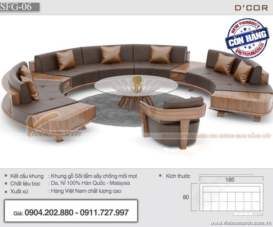 Mẫu sofa gỗ sồi hiện đại thiết kế hình vòng cung ấn tượng - Mã SFG-06