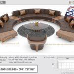 Mẫu sofa gỗ sồi hiện đại thiết kế hình vòng cung ấn tượng – Mã SFG-06