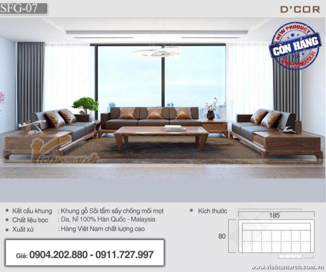 Mẫu sofa gỗ sồi Mỹ cho phòng khách lớn