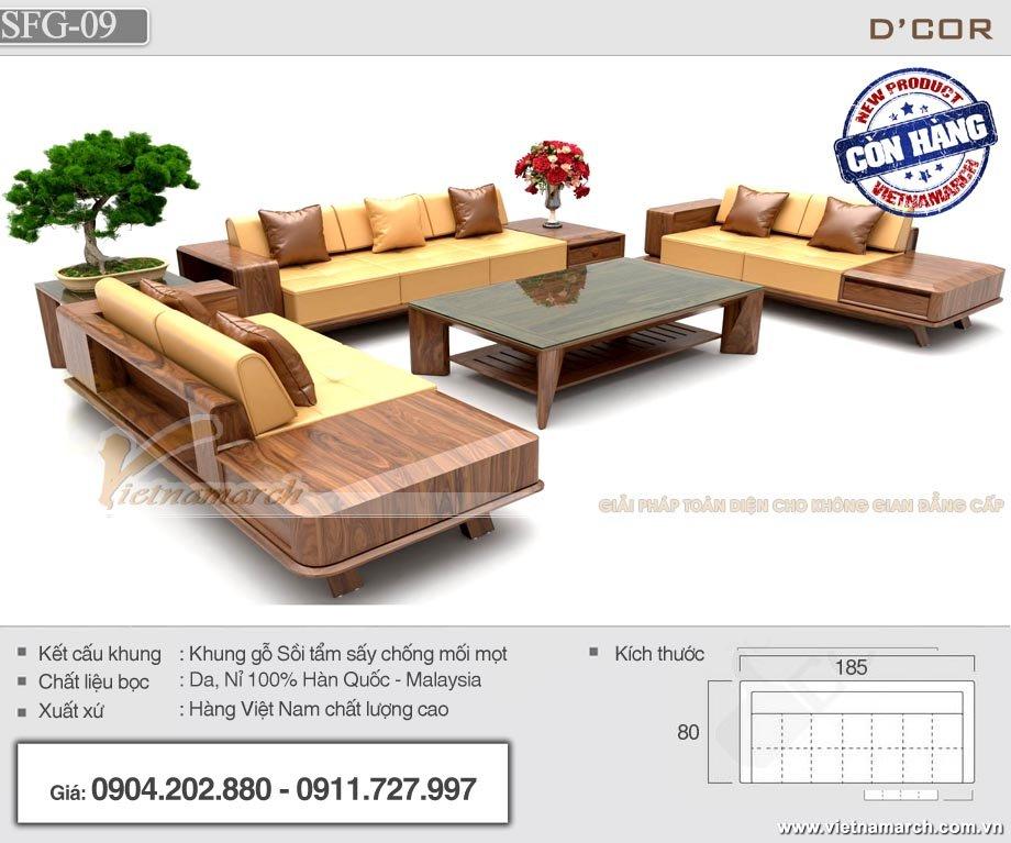 Mẫu sofa gỗ văn phòng SFG-09 có thiết kế hiện đại, sang trọng