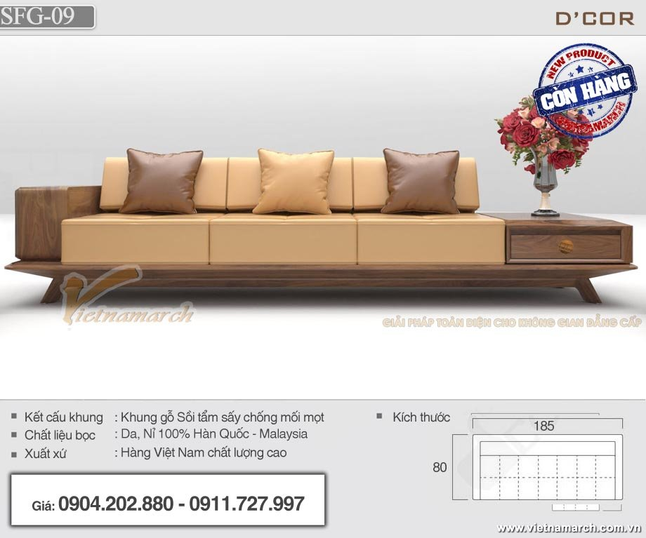 Mẫu sofa gỗ văn phòng SFG-09 có màu sắc bắt mắt