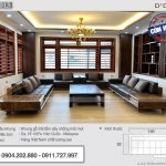Bộ sofa gỗ sồi màu óc chó chữ U cho phòng khách rộng 20m2 – SFG-13
