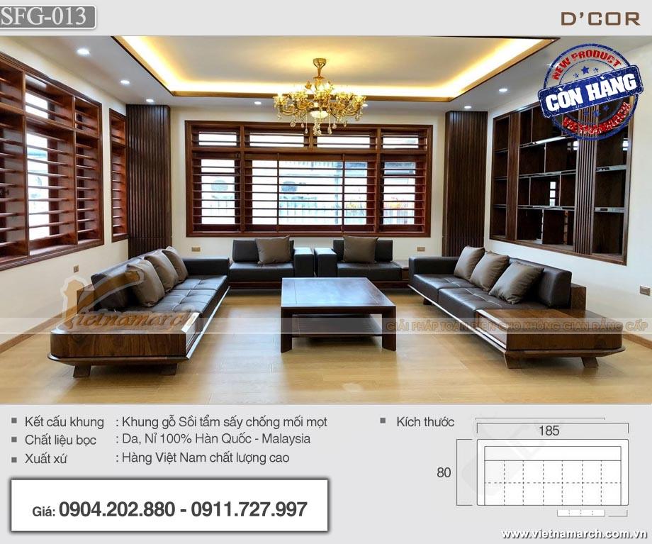 Bộ sofa gỗ sồi màu óc chó chữ U cho phòng khách rộng 20m2 - SFG-13