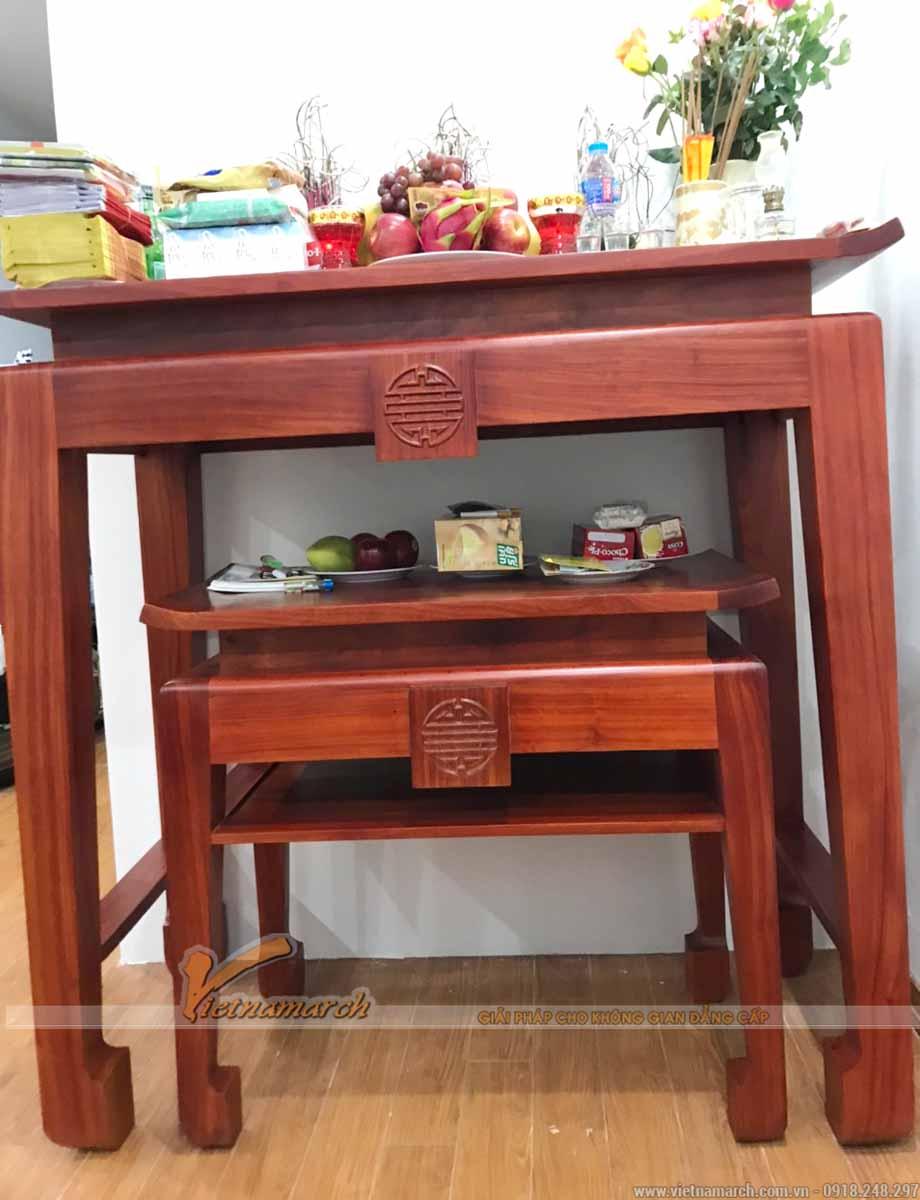 Bàn thờ đứng gỗ hương màu cánh gián 1m27 cho chung cư Đại Kim - BTD02