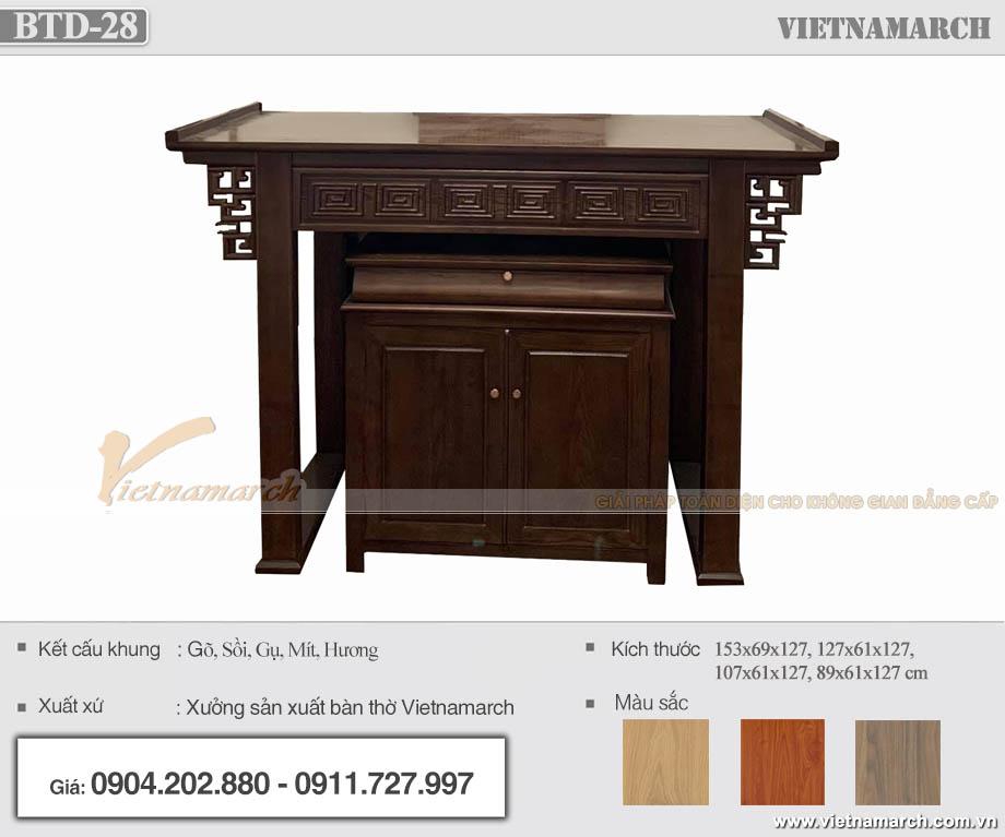 Bàn thờ đứng gỗ sồi kích thước 127cm màu óc chó