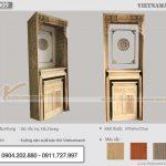 Bàn thờ đứng màu trần sồi cho chung cư kích thước 107x61x127cm – BTD09