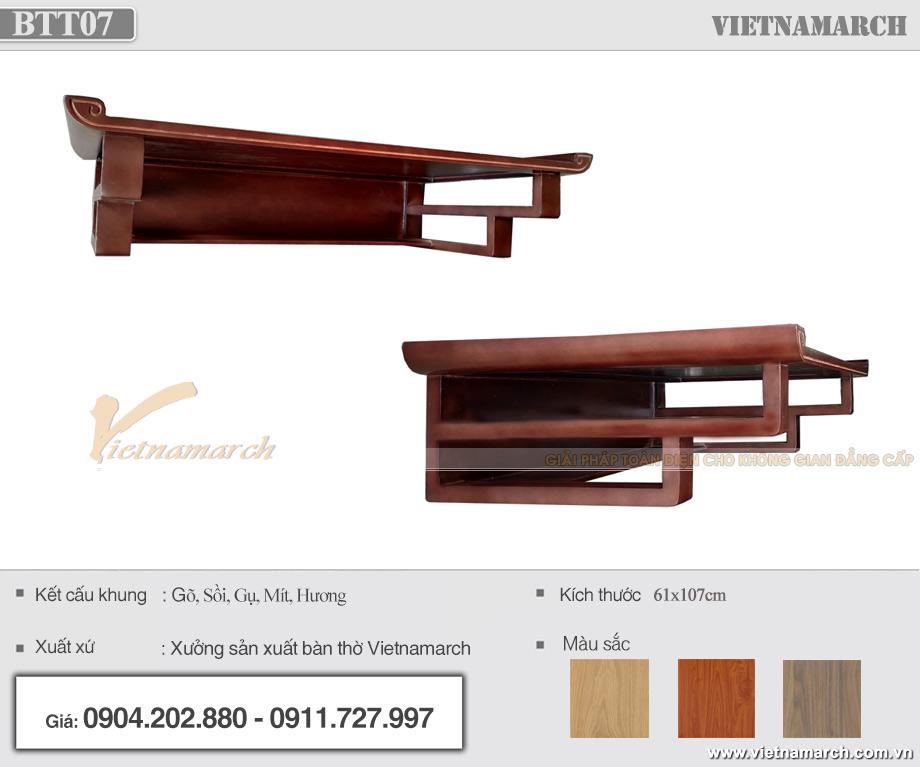 Bàn thờ treo 61x107cm gỗ hương hiện đại