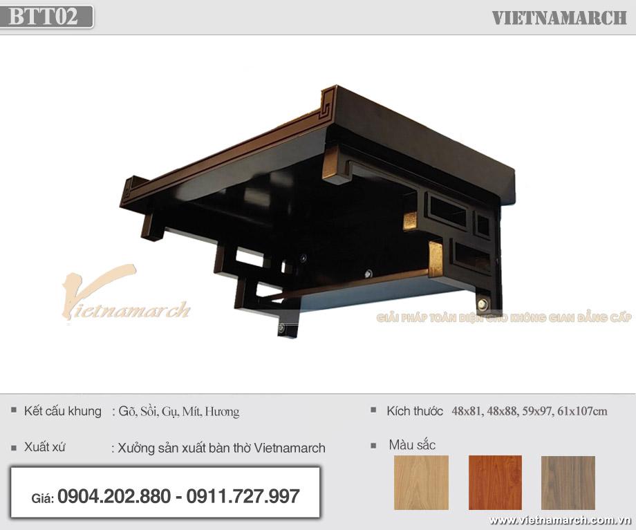 Mẫu bàn thờ treo gỗ gụ BTT02