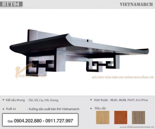 bàn thờ treo tường chung cư hiện đại màu óc chó kích thước 48x88