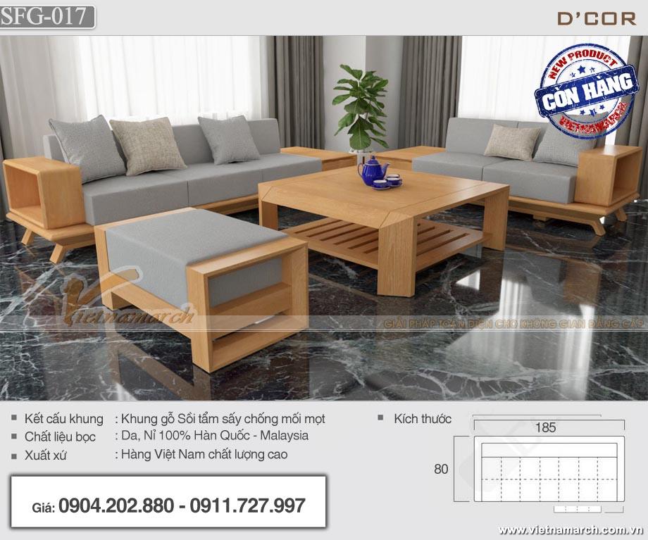 Mẫu sofa gỗ bọc vải nỉ Malaysia chất lượng cao - SFG17