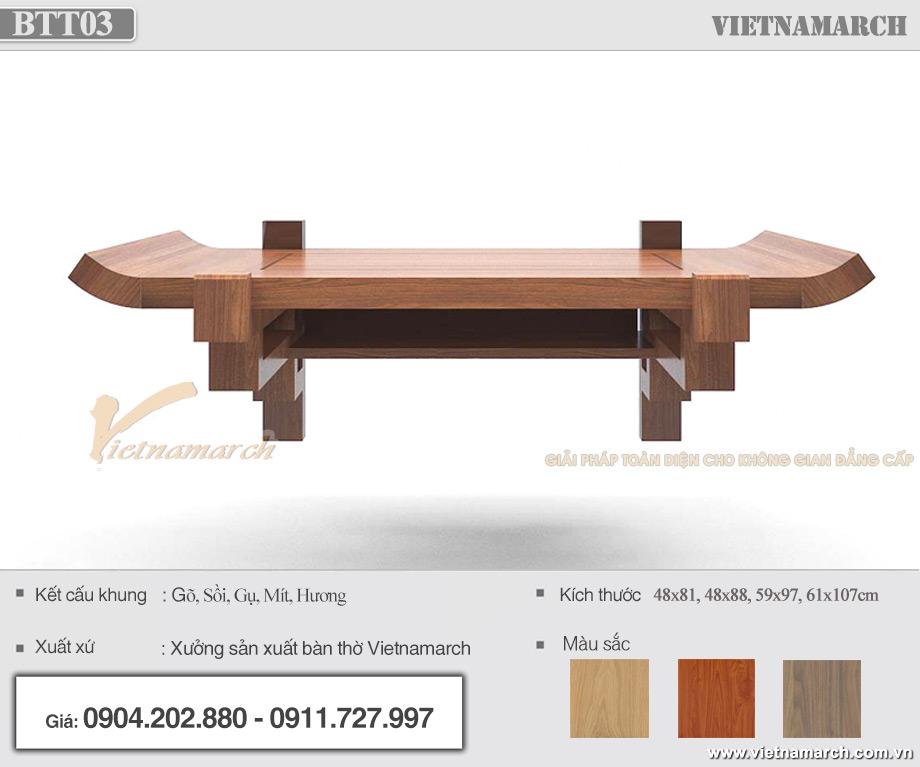 Kích thước bàn thờ treo tường hiện đại màu trần sồi cho chung cư, nhà phố đẹp, chất lượng cao - BTT03