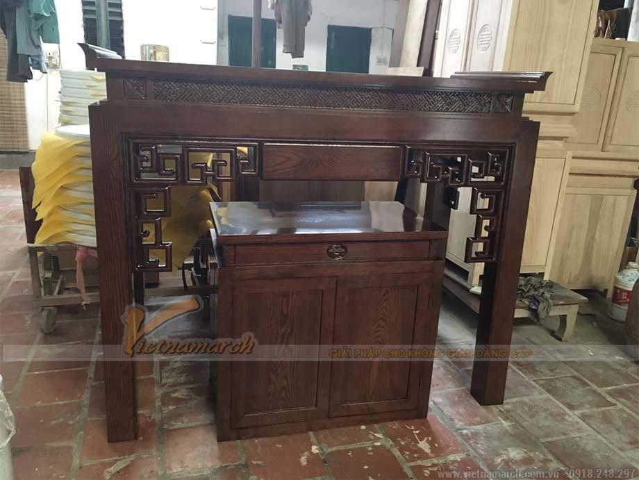 Mẫu bàn thờ đứng 1m53 gỗ sồi màu gụ tại Hải Phòng