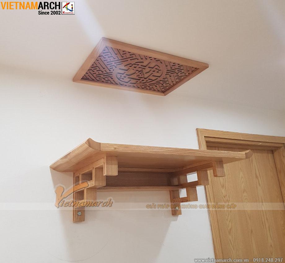 Mẫu bàn thờ treo 48x89cm gỗ sồi hiện đại cho chung cư Mipec Kiến Hưng - Hà Đông - BTT02