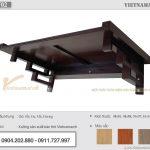 Bàn thờ treo văn phòng mang phong cách hiện đại với chất liệu gỗ sồi màu nâu óc chó – BTT02