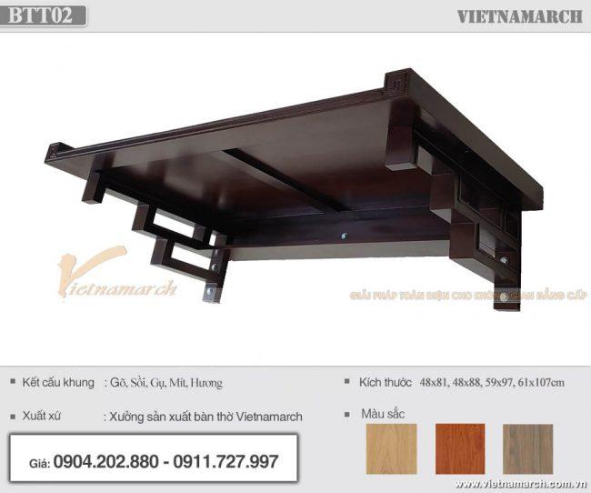Bàn thờ treo văn phòng mang phong cách hiện đại với chất liệu gỗ sồi màu sáng – BTT02