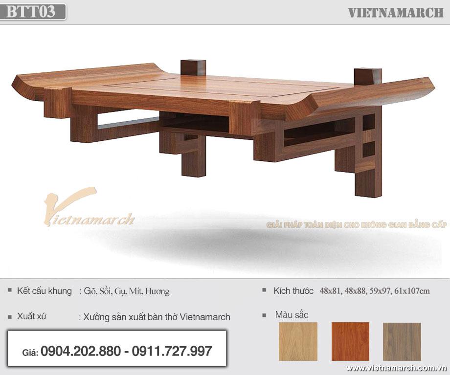 mẫu bàn thờ treo tường gỗ gõ cho chung cư hiện đại – BTT03