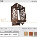 Mẫu bàn thờ treo gỗ sồi kèm vách ngăn giá tận xưởng cho chung cư Vinhomes Shymphony Reverside Long Biên – BTT07