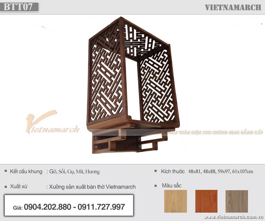 Mẫu bàn thờ treo gỗ sồi kèm vách ngăn giá tận xưởng cho chung cư