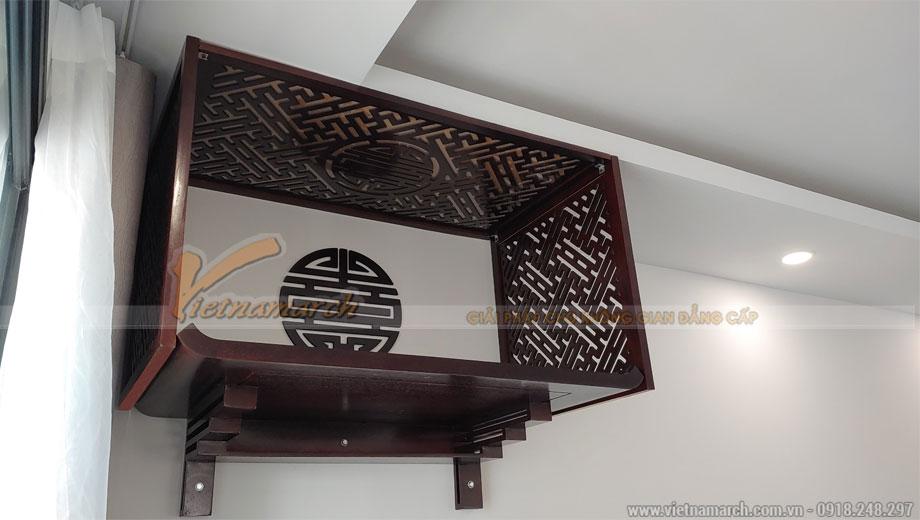 Mẫu bàn thờ treo màu óc chó 61x107 cm gỗ hương cho chung cư