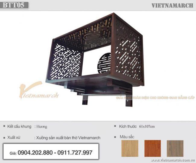 Mẫu bàn thờ treo màu óc chó 61x107