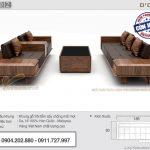 Bộ sofa gỗ sồi 185x80cm xếp đối xứng – SFG12