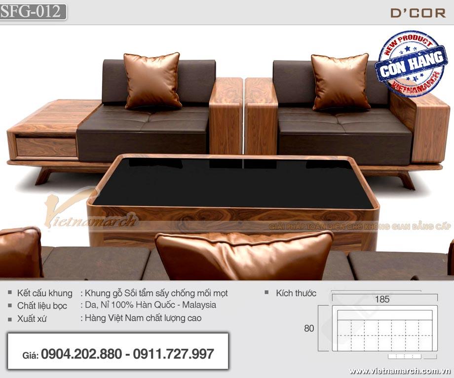 Bộ sofa gỗ sồi 185x80cm xếp đối xứng - SFG12