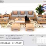 Bộ sofa gỗ sồi 7 món tay trơn đơn giản cho phòng khách – SFG19