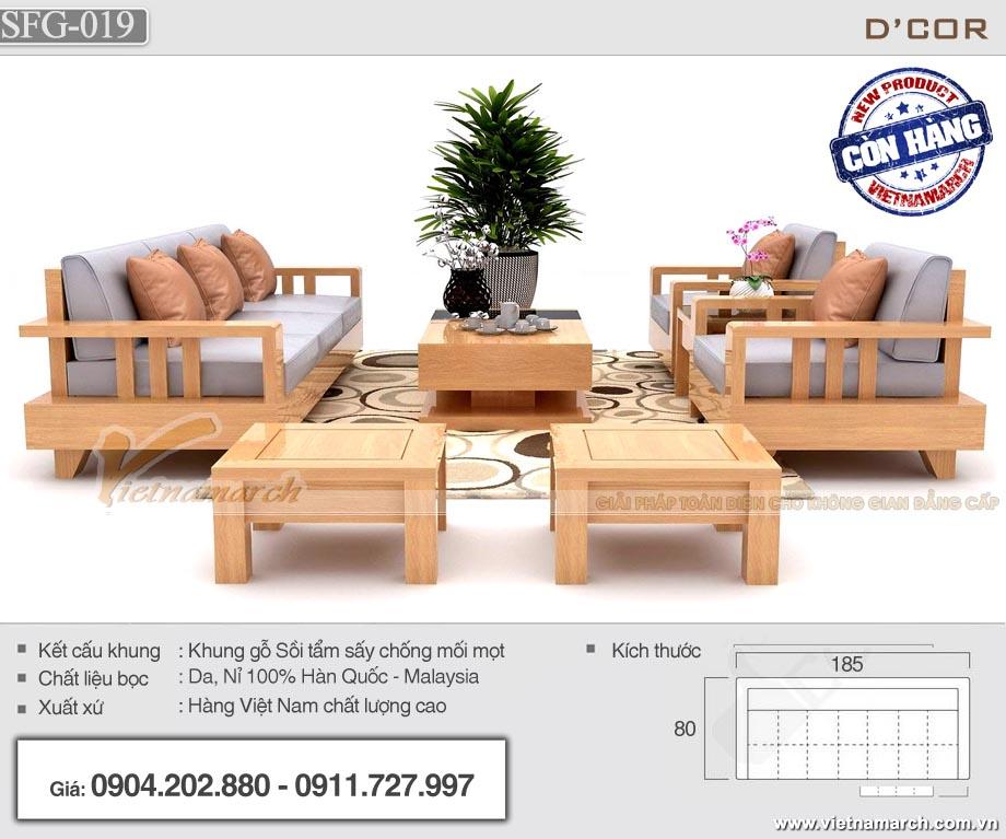 Bộ sofa gỗ sồi 7 món tay trơn đơn giản cho phòng khách - SFG19