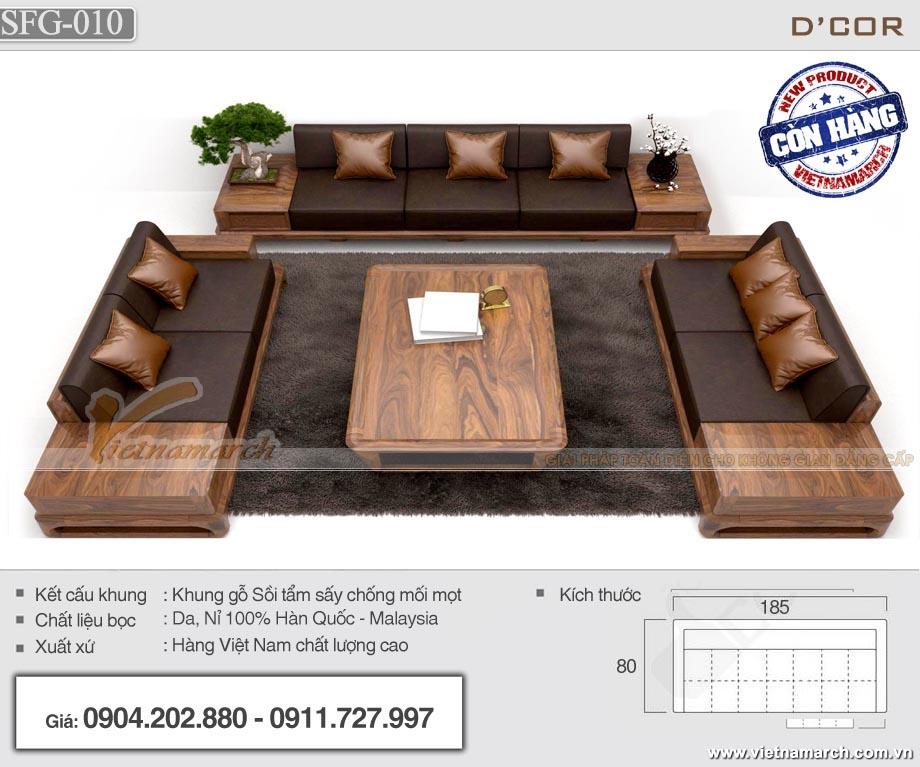 Mẫu sofa gỗ sồi cho phòng khách rộng SFG10