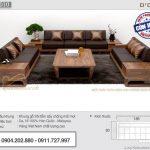 Mẫu sofa gỗ sồi kích thước phủ bì 4mx5m cho phòng khách rộng – SFG10