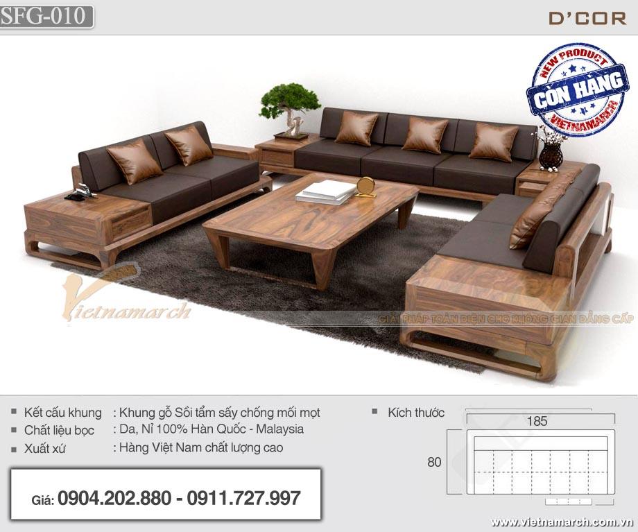 Mẫu sofa gỗ sồi cho phòng khách rộng