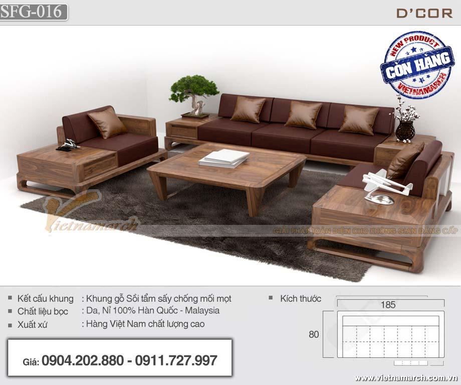 Bộ sofa gỗ có ngăn kéo băng ghế dài 2m6 hàng cao cấp - SFG16