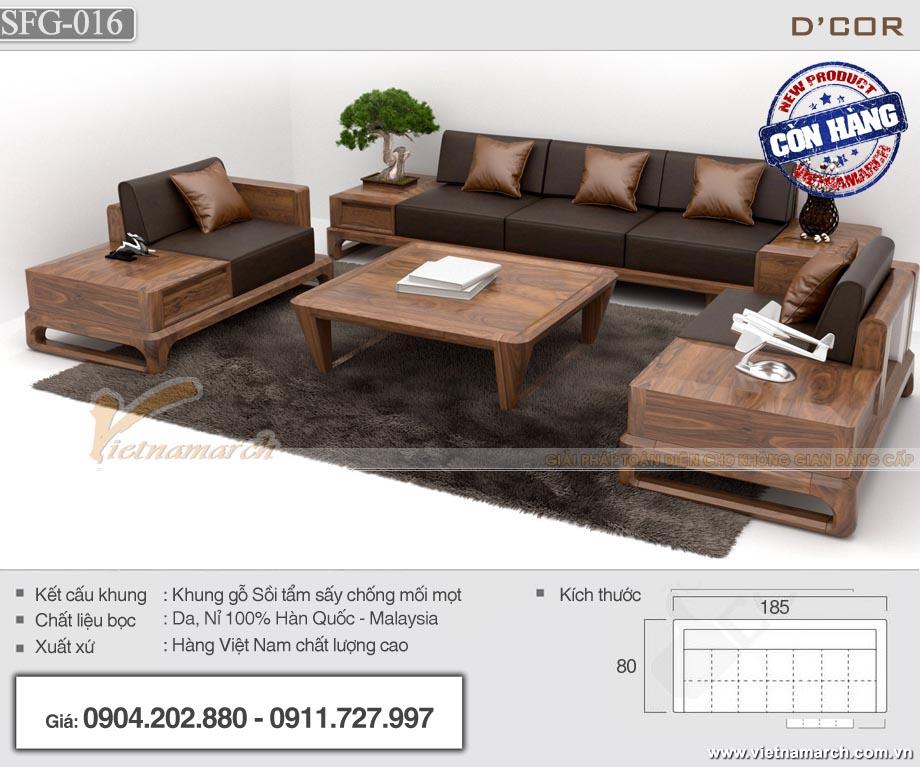 Bộ sofa gỗ sồi chữ U có ngăn kéo - SFG16