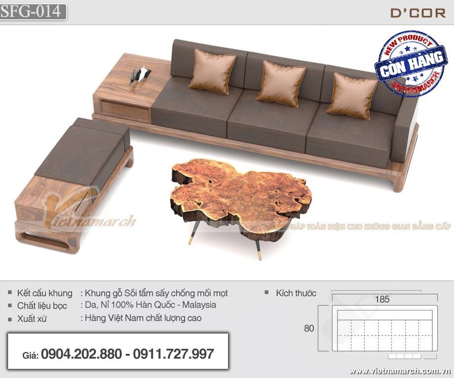 Sofa gỗ sồi nhỏ gọn 3 chỗ ngồi - SFG14