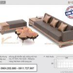 Sofa gỗ sồi nhỏ gọn 3 chỗ ngồi kèm bàn trà gỗ độc đáo – SFG14