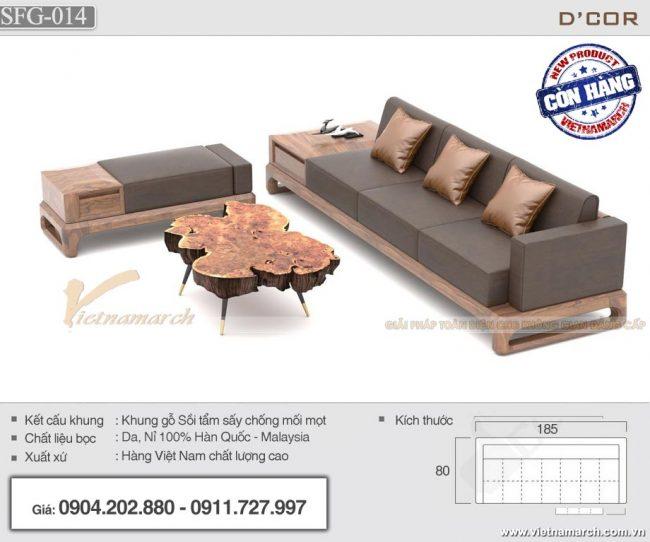Sofa gỗ sồi nhỏ gọn 3 chỗ ngồi kèm bàn trà gỗ độc đáo - SFG14