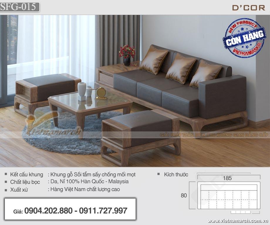 Mẫu sofa gỗ sồi hiện đại cho phòng khách chung cư - SFG15