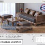 Mẫu sofa gỗ sồi 4 món kích thước phủ bì 2m3 cho phòng khách chung cư – SFG15