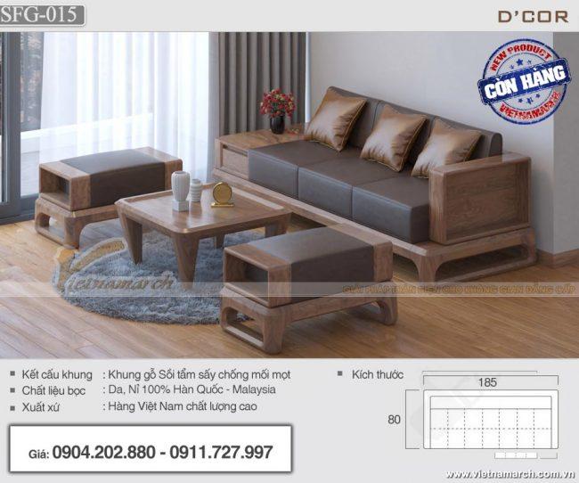 Mẫu sofa gỗ sồi 4 món kích thước phủ bì 2m3 cho phòng khách chung cư - SFG15