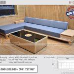 Mẫu sofa góc chữ L 260×200 cm gỗ sồi cho phòng khách nhỏ – SFG18