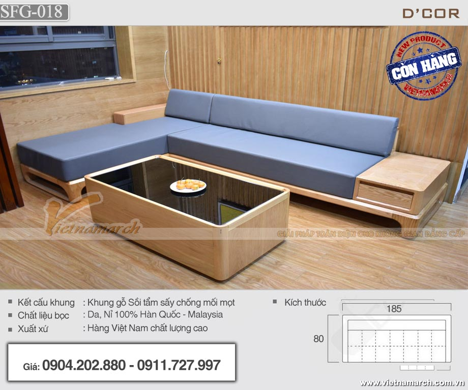Mẫu sofa góc chữ L 260x200 cm gỗ sồi cho phòng khách nhỏ - SFG18