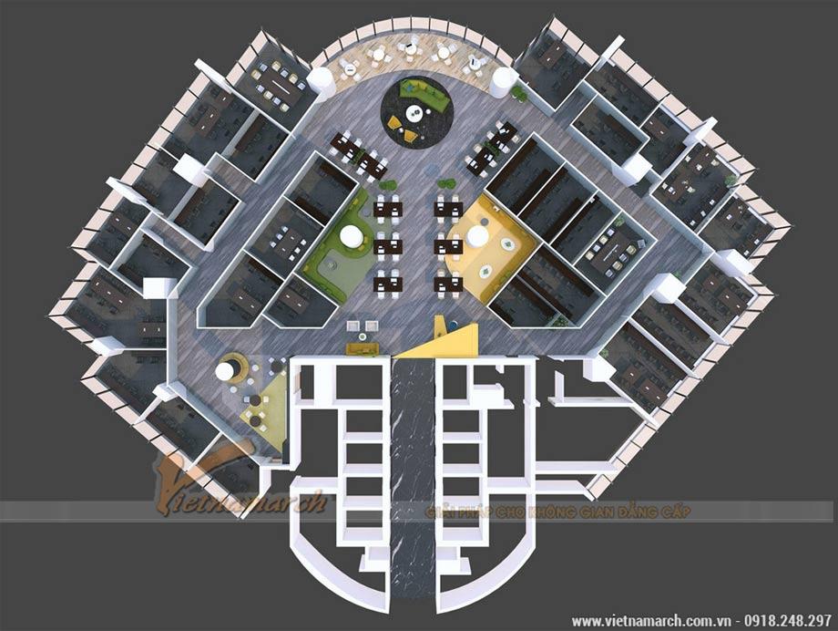 Phối cảnh tổng thể dự án thiết kế văn phòng tòa nhà VP Bank 89 Láng Hạ
