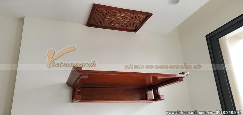Bàn thờ gỗ đẹp ngang 1m07 gỗ sồi cho chung cư Tây Mỗ