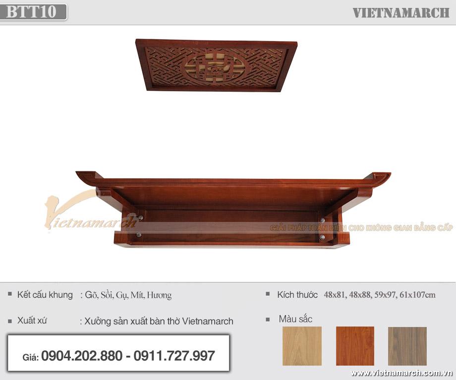 Bàn thờ gỗ đẹp ngang 1m07 gỗ sồi giá rẻ cho chung cư Vinhomes Smart City Tây Mỗ - BTT10