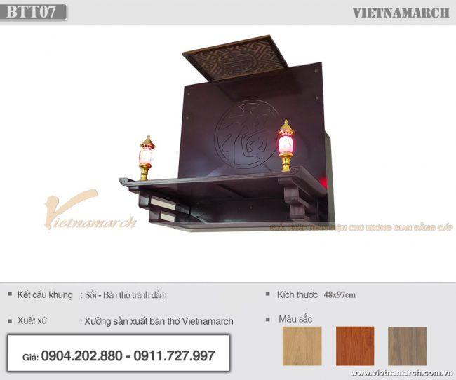 Bộ bàn thờ treo 48x97cm gồm vách ngăn + ám khói