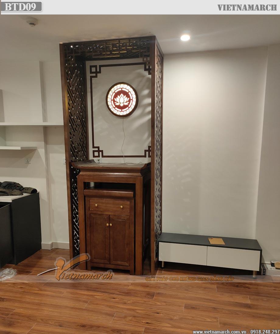 Mẫu bàn thờ đứng nhỏ 89x61x127cm hiện đại cho chung cư Vinhomes Smart City