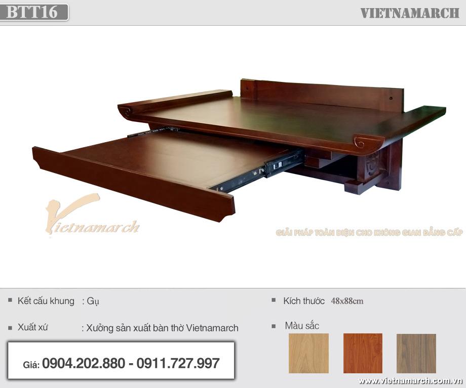 Mẫu bàn thờ treo tường có ngăn kéo gỗ gụ