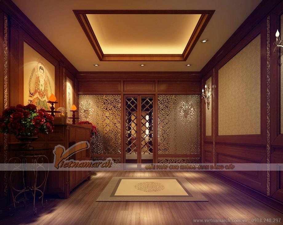 Thiết kế phòng thờ với ánh sáng vàng ấm áp, dịu nhẹ